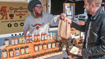 Ginger Beard's Preserves, Harry Calvert serving a customer. Picture: MARK ATHERTON