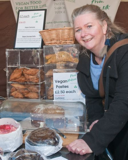 From Nature UK, Martine Ashe with her range of vegan foods. Picture: MARK ATHERTON