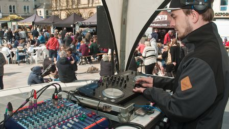 DJ Tom Court providing the sound track for the festival. Picture: MARK ATHERTON