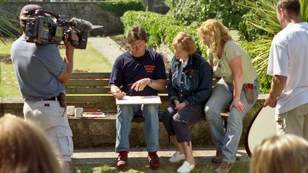 Alan Titchmarsh and Charlie Dimock from the Ground Force Team with Judi Kisiel during filming.