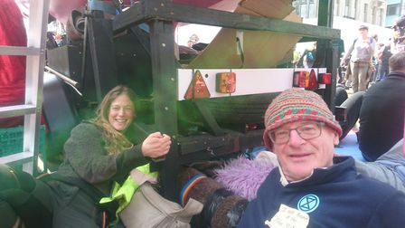 Rebekah and Jeff from Shipham locked onto a boat in Oxford Circus during the Extinction Rebellion pr