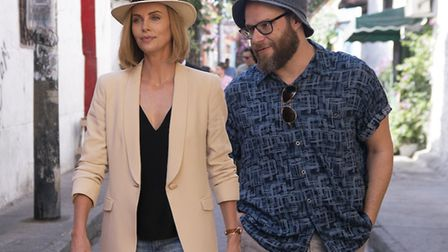 Charlize Theron and Seth Rogan in Long Shot. Picture: Hector Alvarez