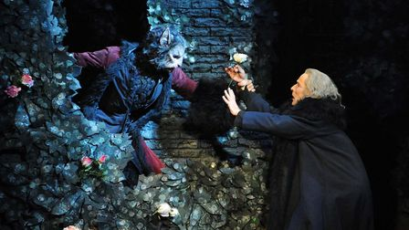 Iain Mackay as the Beast and Michael O'Hare as the Merchant in Beauty And The Beast. Picture: Roy Sm