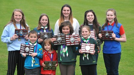 Finlay McTeer (beaver), Katie Flook (rainbow), Amy Simms (cub and brownie), Anya Aggington (cub), Ph