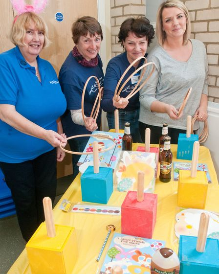 Chris Smith, Sally Davis, Sue Harding and Ella Stocks at the Friends of Weston Hospicecare Easter Fa