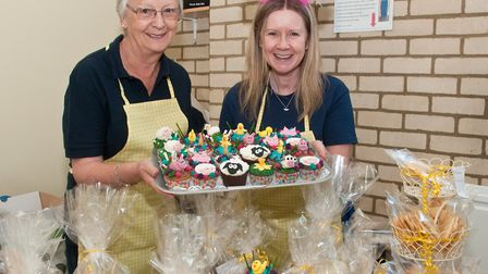 Sue Barlow and Lisa Dorgan selling cakes at the Friends of Weston Hospicecare Easter Fair. Pictur