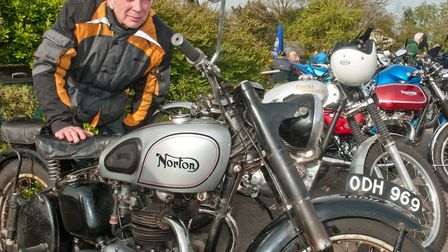 Brian Petheram and his 1957 Norton Model 7 motorbike. Picture: MARK ATHERTON