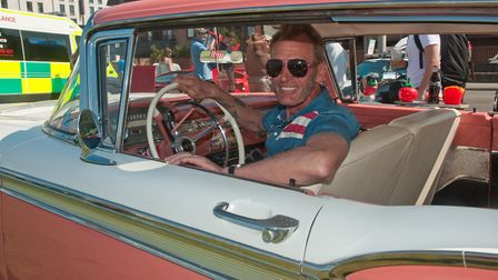 Brian Price at the wheel of his 1959 Ford Galaxy.