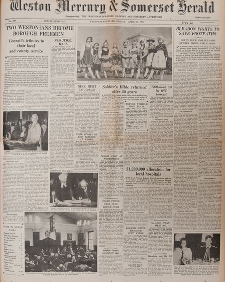 Front Page 25th April 1969 Edition. Picture: WESTON MERCURY