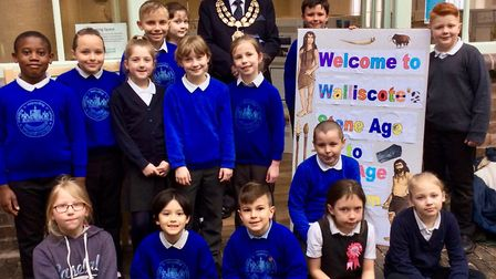 Students from Walliscote Primary School with Weston-super-Mare mayor Mike Lyall.