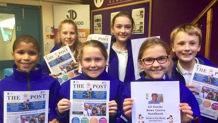 Castle Batch Primary School pupils at their news centre. Picture: WESTON MERCURY