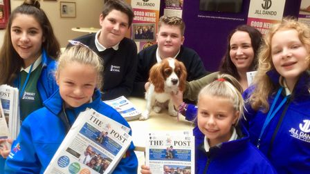 Priory Community School students with The Post. Picture: WESTON MERCURY