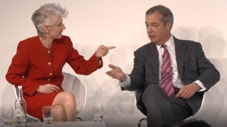 Swedish MEP Anna Maria Corazza Bildt and Nigel Farage debate at the Euronews conference held in Lond