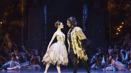 Delia Mathews as Belle and Tyrone Singleton as the Beast in Beauty And The Beast. Picture: Bill Coop