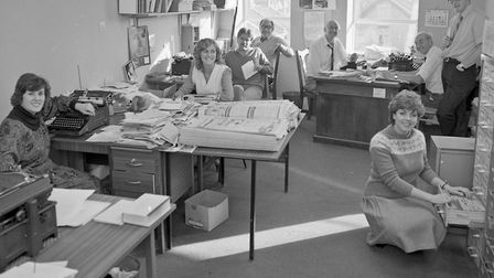 The editorial department with Jill Dando (second from left).