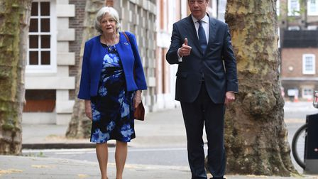 Leader of the Brexit Party Nigel Farage with former Tory minister Ann Widdecombe, who has defected f