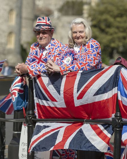 Royal fans Terry Hutt and Margaret Tyler. Picture: Steve Parsons/PA Wire