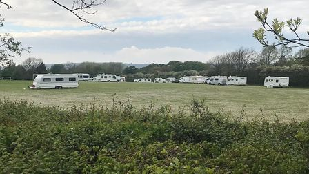 Traveller caravan have been spotted at Locking playing fields.Picture: Sam Frost