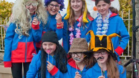 Guides dressing to impress at the photo booth at Shipham May Fair. Picture: MARK ATHERTON