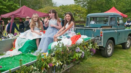 The May Queen and her attendants arrive at Claverham May Fair. Picture: MARK ATHERTON