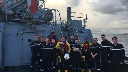 RNLI volunteers were welcomed by French Navy crew. Picture: Weston RNLI
