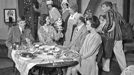 The Bliss family blather on oblivious of the departing guests who think they are escaping from a mad