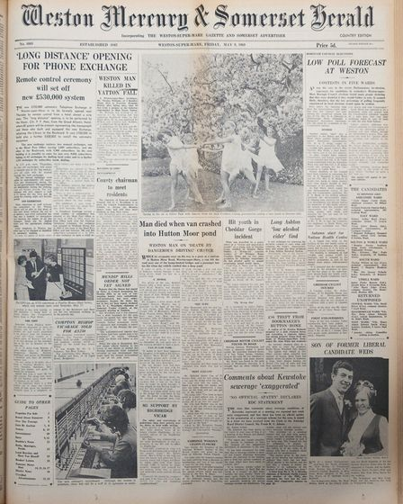 Front Page 9th May 1969 Edition. Picture: WESTON MERCURY