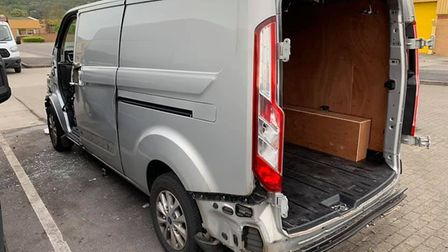 The front of the van, its wing mirrors including back, side and front doors have been ripped off.