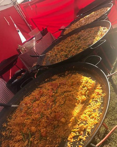 Big vats of paella brought a European flavour to the festival. Picture: KAREN RICHARDS