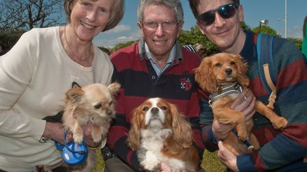 Linda Graham and Aidan Taylor with Pip, Ava and Pico. Picture: MARK ATHERTON