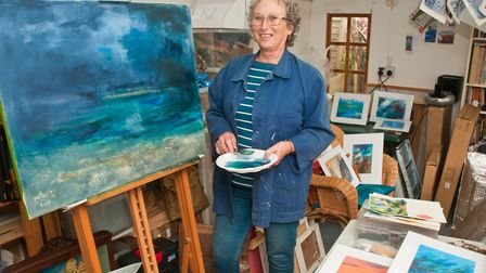 Tina Gordon is a semi-abstract mixed media landscape artist who lives and works in Weston. Her paint