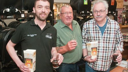 David Roseff, Alan Brooks and Paul Hale serving the pints at The Ritz Social Club Beer Festival.