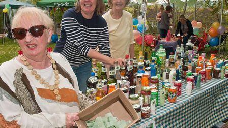 The bottle tombola with Ann Harley Vicky Taylor and Di Mavor at Winscombe May Fair. Picture: MARK