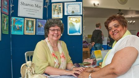 Angel spiritual artist Sharon May with Loraine Lane at Westons Psychic & Holistic Festival. Pict