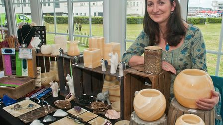 Sarah Barlows Marbles & Stones business at Westons Psychic & Holistic Festival.Picture: MARK ATHERTO