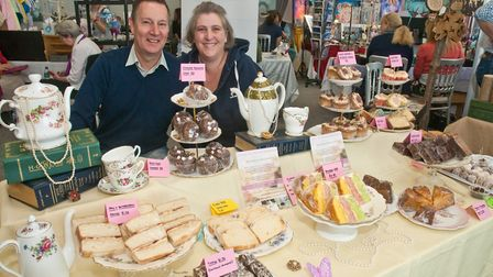 Michelle Buckley and Jeff Areskog with their cakes at Westons Psychic & Holistic Festival.Picture: M