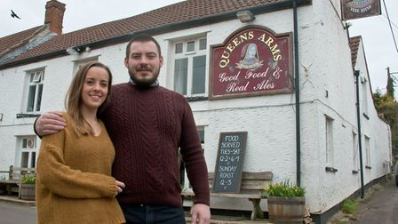 Josh Walton and Chloe Parrott who have taken over running the Queen's Arms pub in Bleadon. Picture: