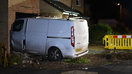 The van 'embedded' in the side of Joan Woodier's home. Picture: Avon and Somerset Constabulary