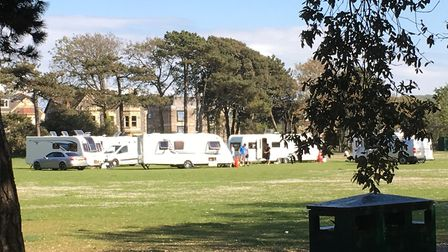 Travellers have pitched up at Clarence Park in Weston.Picture: Lily Newton-Browne