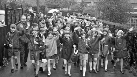 Head of Milton Junior School Mr. P.R. Townsend pictured with pupils as they set off for their Week's
