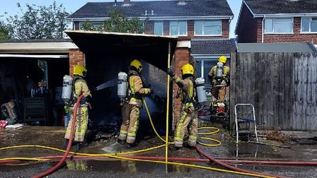 Crews from Weston atteneded a fire at a garage in Mead Vale. Picture: Avon and Somerset Fire Servi