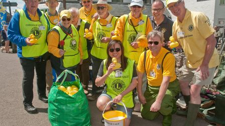 Race marshalls and organisers at Cheddar Lions duck race. Picture: MARK ATHERTON