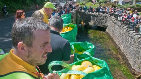 Getting ready for the start of Cheddar Lions duck race. Picture: MARK ATHERTON