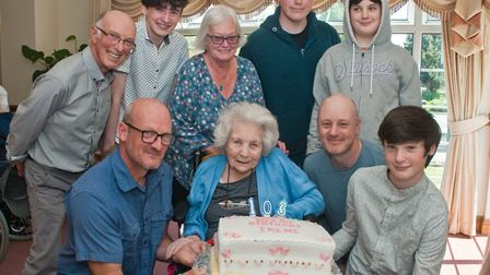 Irene Newey celebrating her 103rd birthday with family and friends. Picture: MARK ATHERTON
