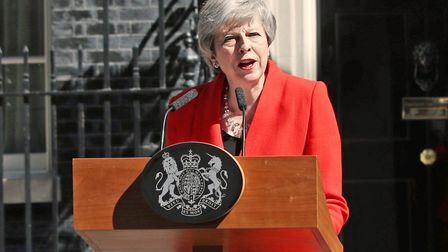 Prime Minister Theresa May making a statement outside 10 Downing Street in London. Picture: Dominic