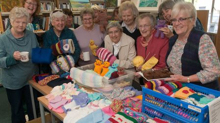 Gail Lee (right) and the knitters from the charity knitting group. Picture: MARK ATHERTON