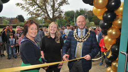 Principal Lydia MacRitchie with Mayor and Mayoress Mark and Estelle Canniford. Picture: Jeremy Long