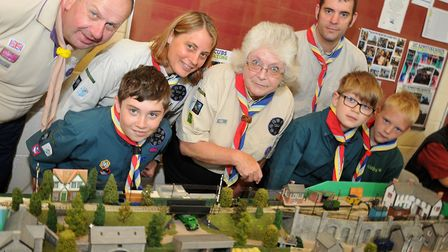 1st Ashcombe Scout Group with an O scale 9mm guage model. Picture: Jeremy Long