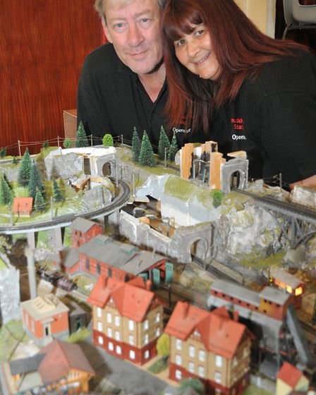 Philip and Susan Ford with their N guage model as 1st Ashcombe Scout Group host a family model railw