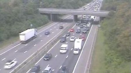 Long delays are facing motorists on the M5 this afternoon (Saturday). Picture: Highways England